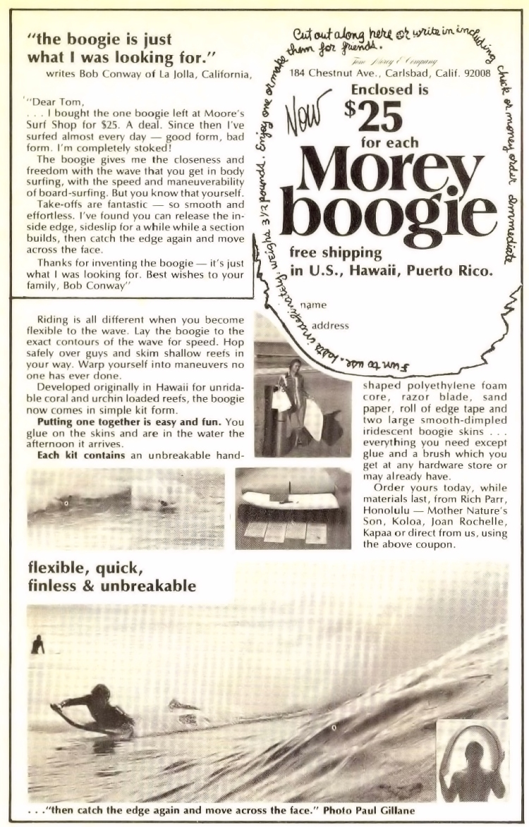 O anúncio Morey Boogie: flexível, rápido, sem barbatanas e inquebrável