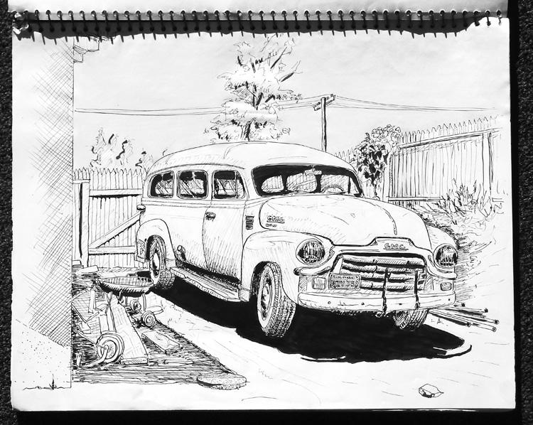 Bolsa de viagem GMC: o veículo de 1954 Craig Libuse e seus amigos levados para a praia no colégio Ilustração: Craig Libuse
