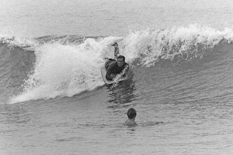 Craig Libuse: 1974 com o Morey Boogie em Tamarack Beach    Foto: Arquivos Libuse
