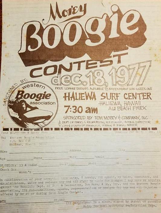 O concurso Morey Boogie Haleiwa: ocorreu em 18 de dezembro de 1977