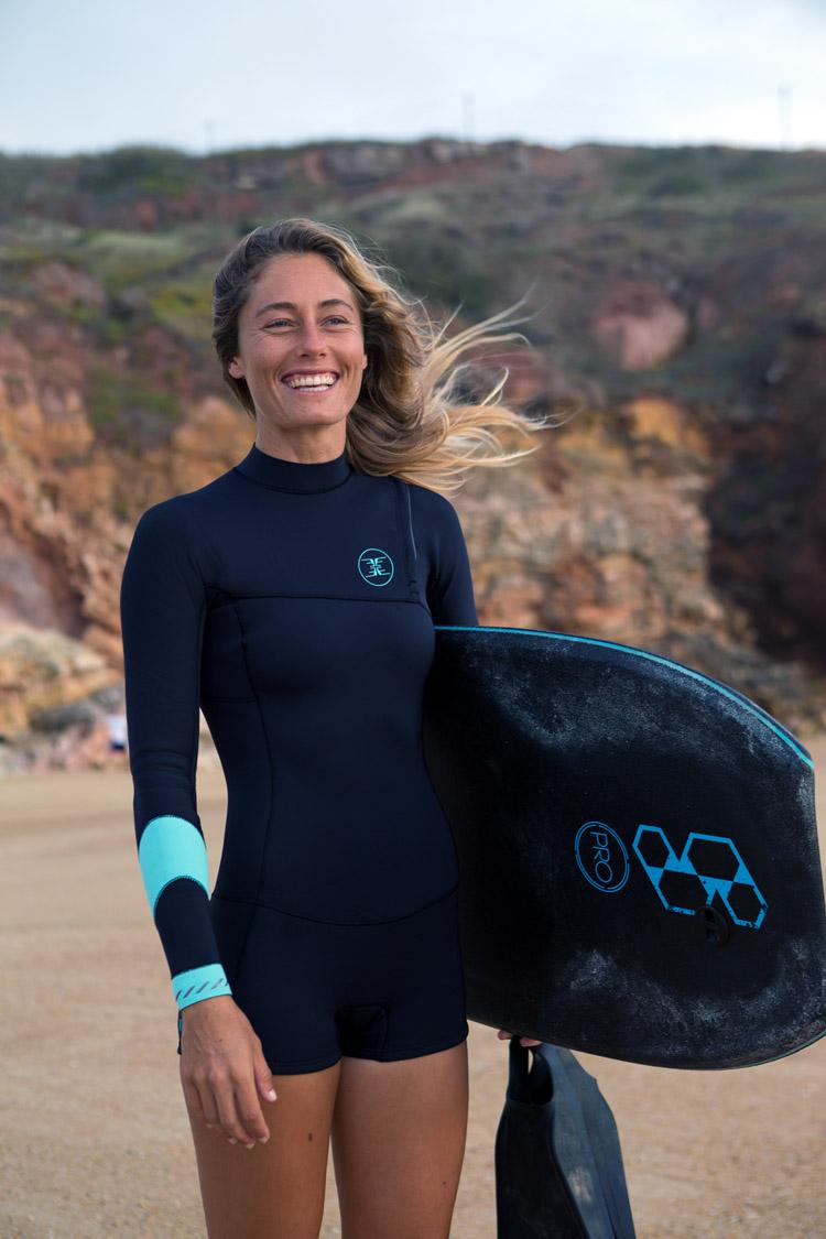 Joana Schenker: é co-proprietária de uma escola de bodyboard com o piloto Francisco Pinheiro