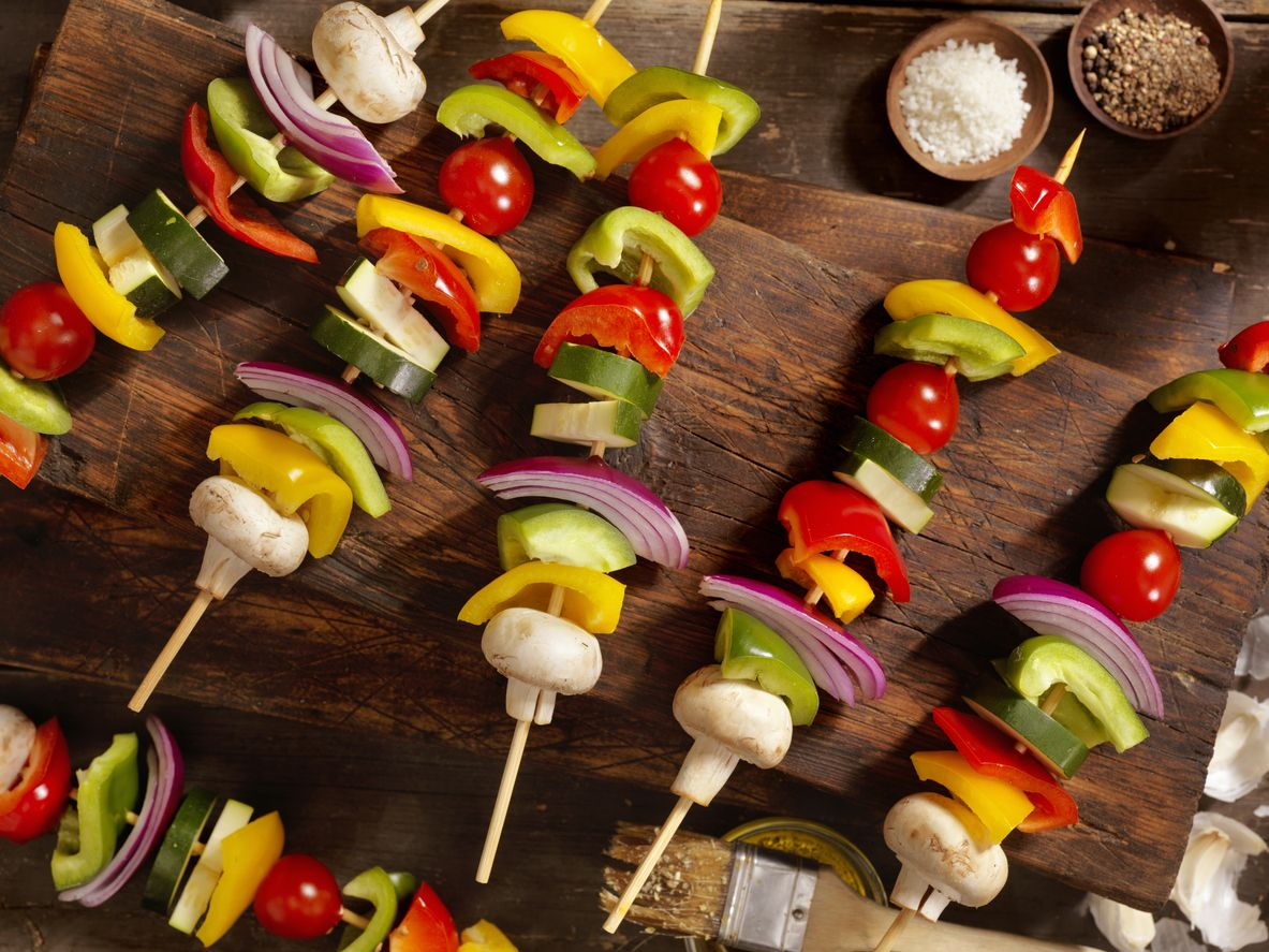 Espeto de legumes no forno